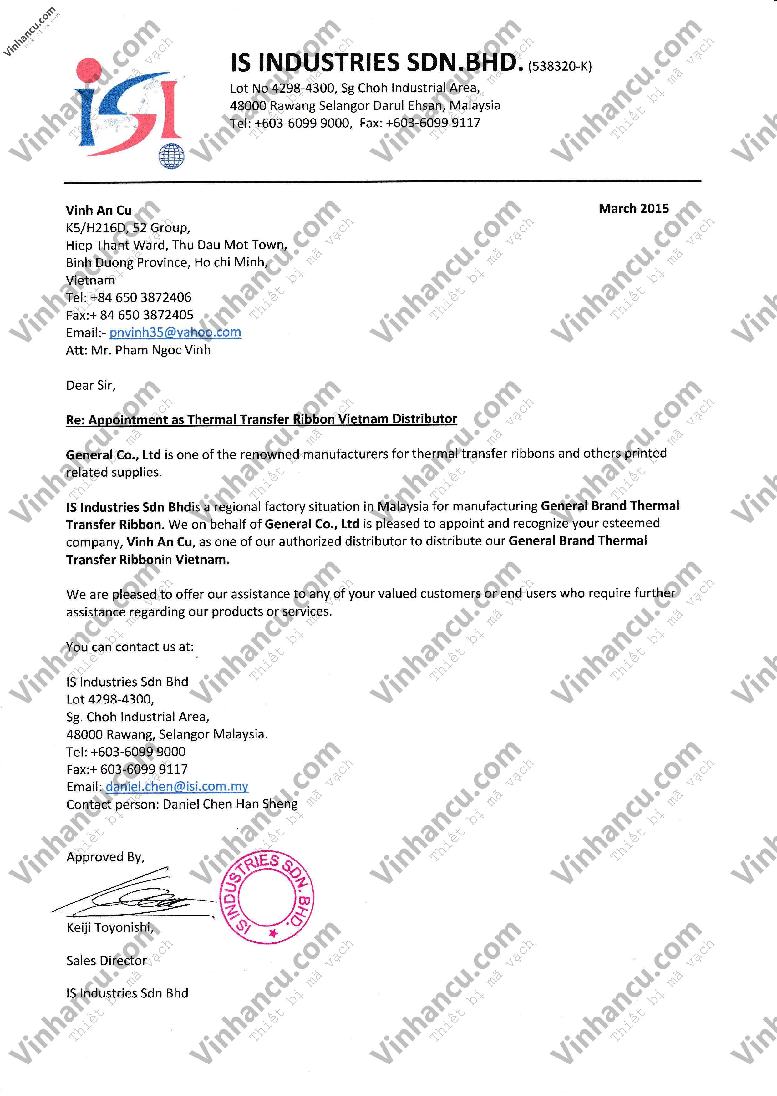 General Appointment letter for Vinh An Cu